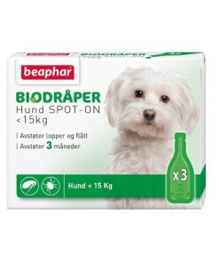 "BIODRÅPER Beaphar, Hund under 15kg. ""Spot on"""