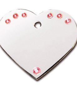 ID-MERKE Hjerte, Stort, m/rosa stener