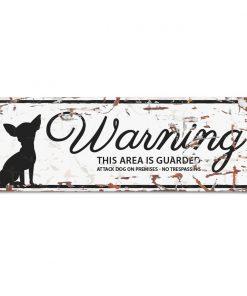 """Skilt i metall, """"Warning...""""  Chihuahua 12x4 cm"""