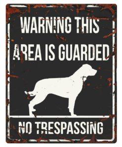 "SKILT i metall, Rottweiler, ""Warning, this area.."""