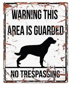 "SKILT i metall, Rottweiler, ""Warning, this area..."" 20x25cm"