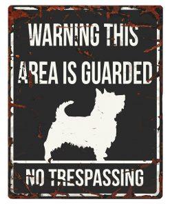 "SKILT i metall, Terrier, ""Warning, this area.."" 20x25cm"