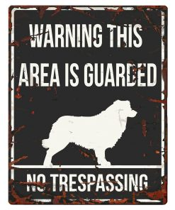 """SKILT i metall, Collie, """"Warning, this area.."""" 20x25cm"""