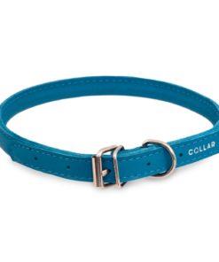 HALSBÅND Collar, Lær, blå, 20-25cm.