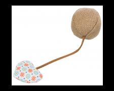 Ball M. Hjerte, Jute/Stof, Ø 4.5 × 18 Cm