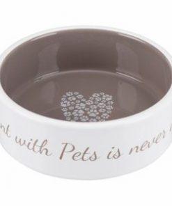 Pet'S Home Ceramic Bowl, 0.3 L/Ø 12 Cm, Cream/Taupe