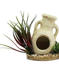 """Akvariedekor, Plastplante med krukke """"Amfora"""" 13 cm"""