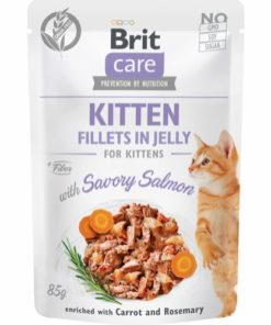 Brit Care Cat Kitten. Fillets In Jelly W/ Savory Salmon 85G