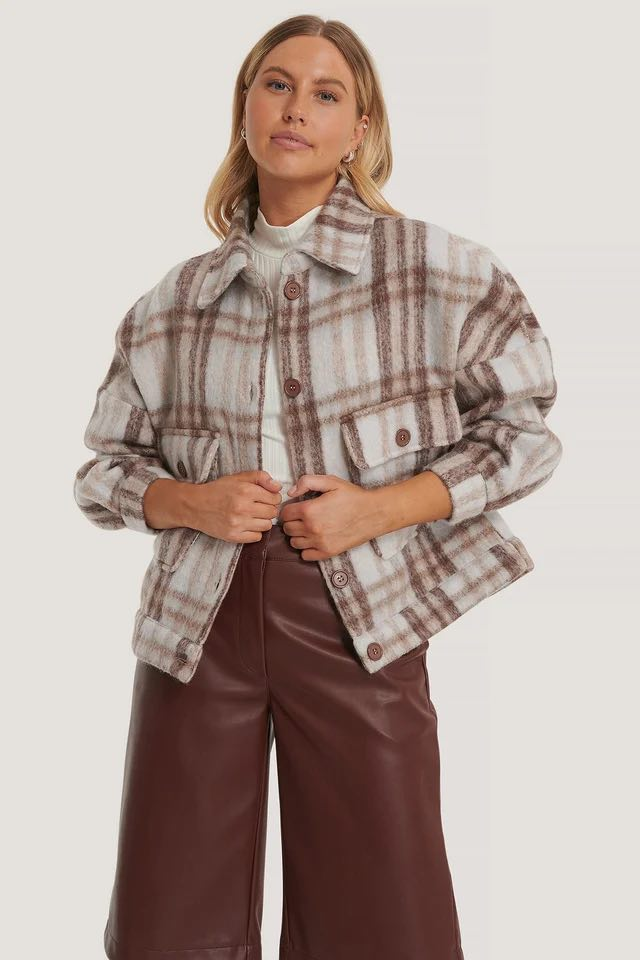 CHECKED WOOL BLEND JACKET - NA-KD