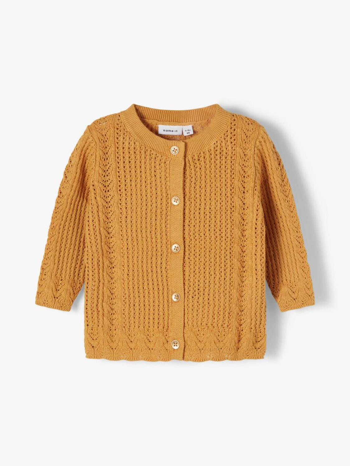 FILONE KNIT CARDIGAN SPRUCE YELLOW - NAME IT