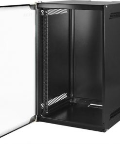 "TOTEN 10"" veggskap, leveres umontert, 4U, 280x310, glassdør, svart"