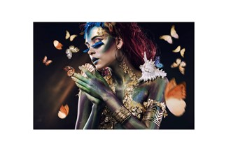 Glass picture butterfly lady