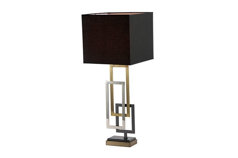 Bordlampe Sevilla gull firkant sort skjerm