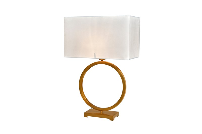 Bordlampe Fontana Gold  skjerm hvit velur