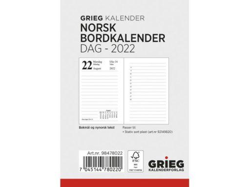 Bordkalender GRIEG 2022 Norsk