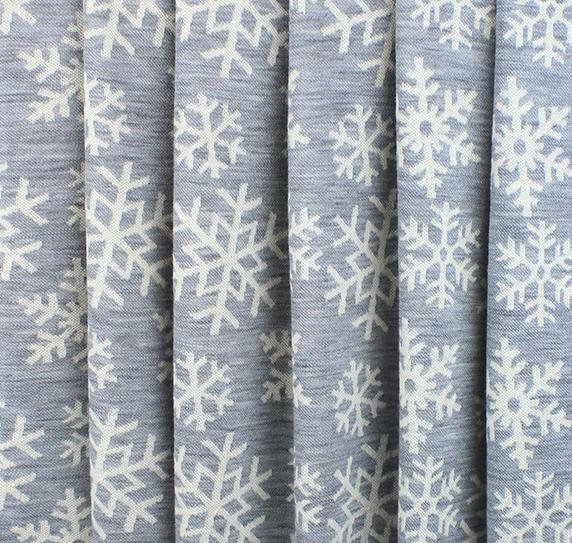 Merinoull interlock - snøkrystaller, lys grå