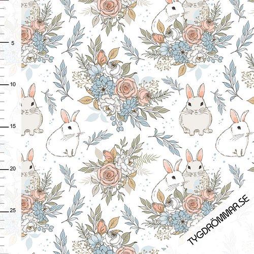 Tygdrömmar - Garden Bunnies White - 40 cm