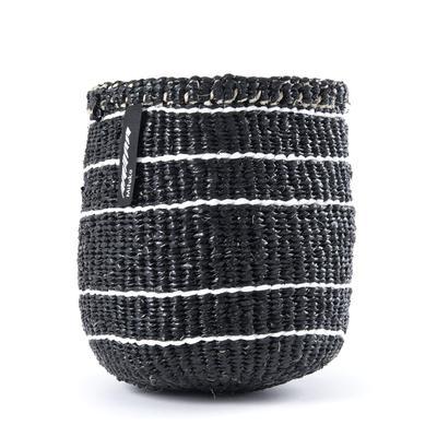 Mifuko - Kurv uten håndtak, xs, svart m/hvite striper