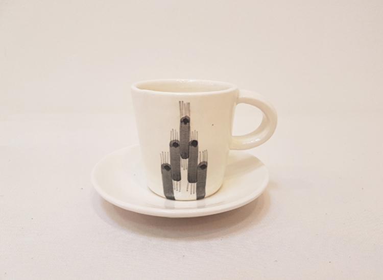 Vicens - kopp med skål, grå