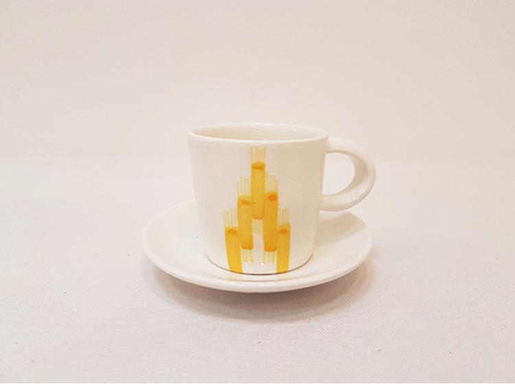 Vicens - kopp med skål, gul
