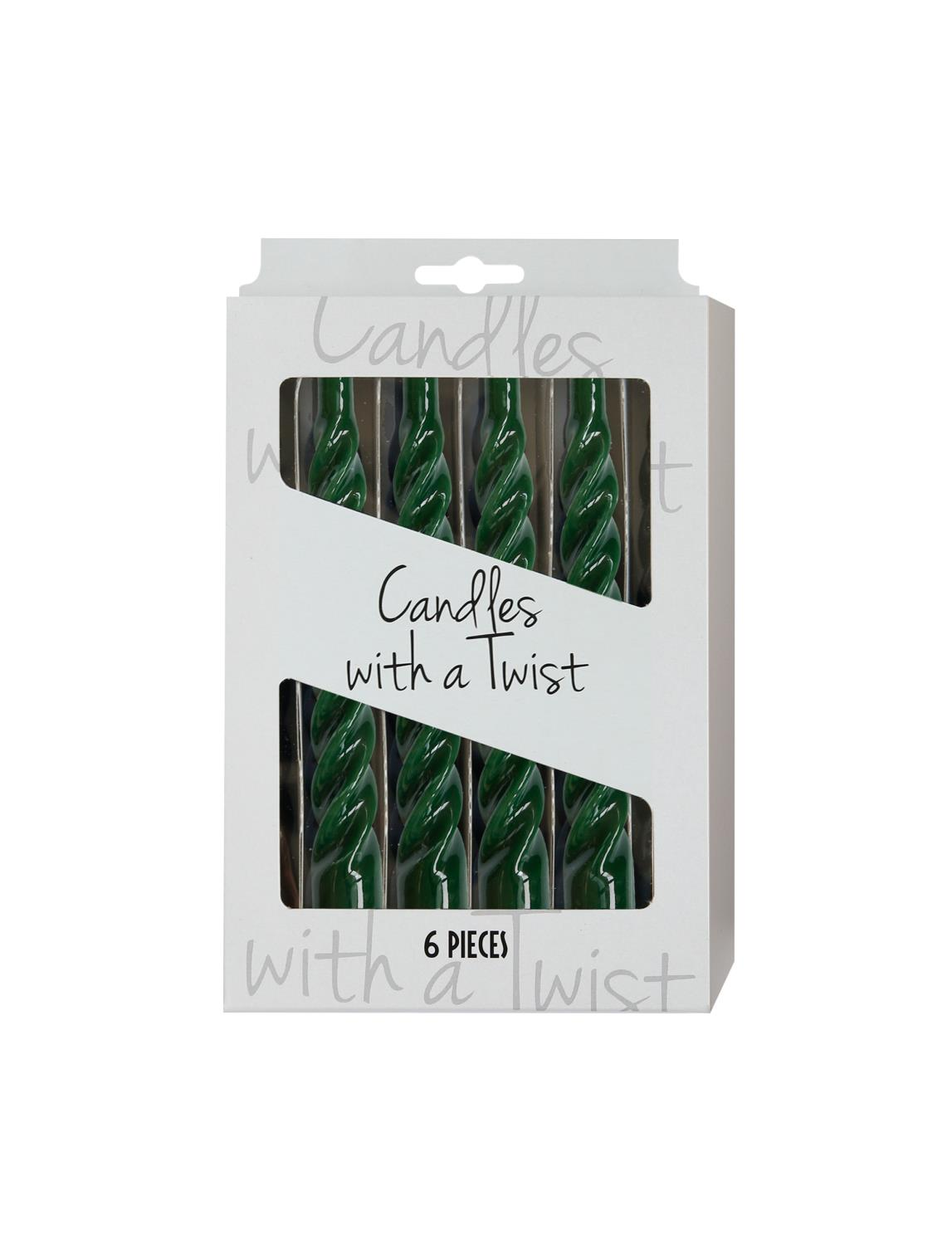Candles with a twist 21 cm - Green