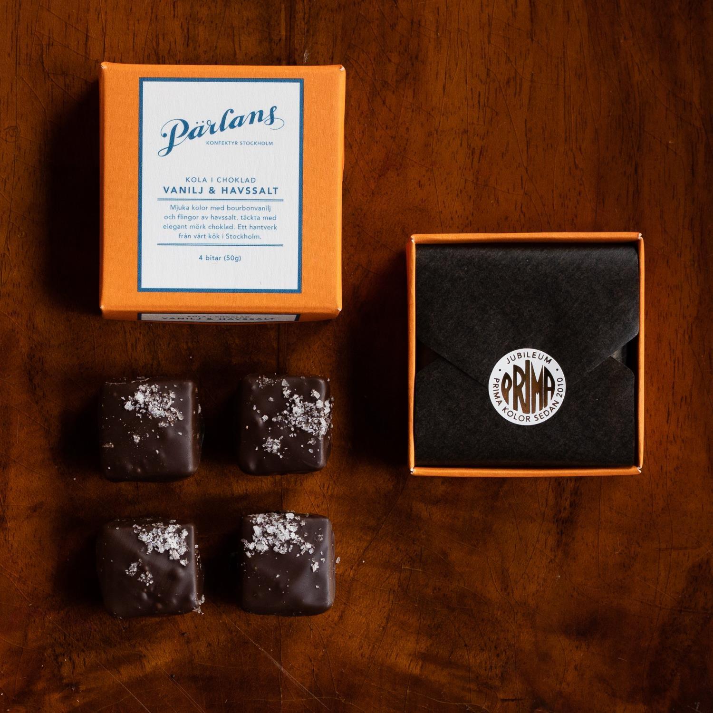 Parlans Karamell i sjokolade 4 biter Kalabrisk lakris