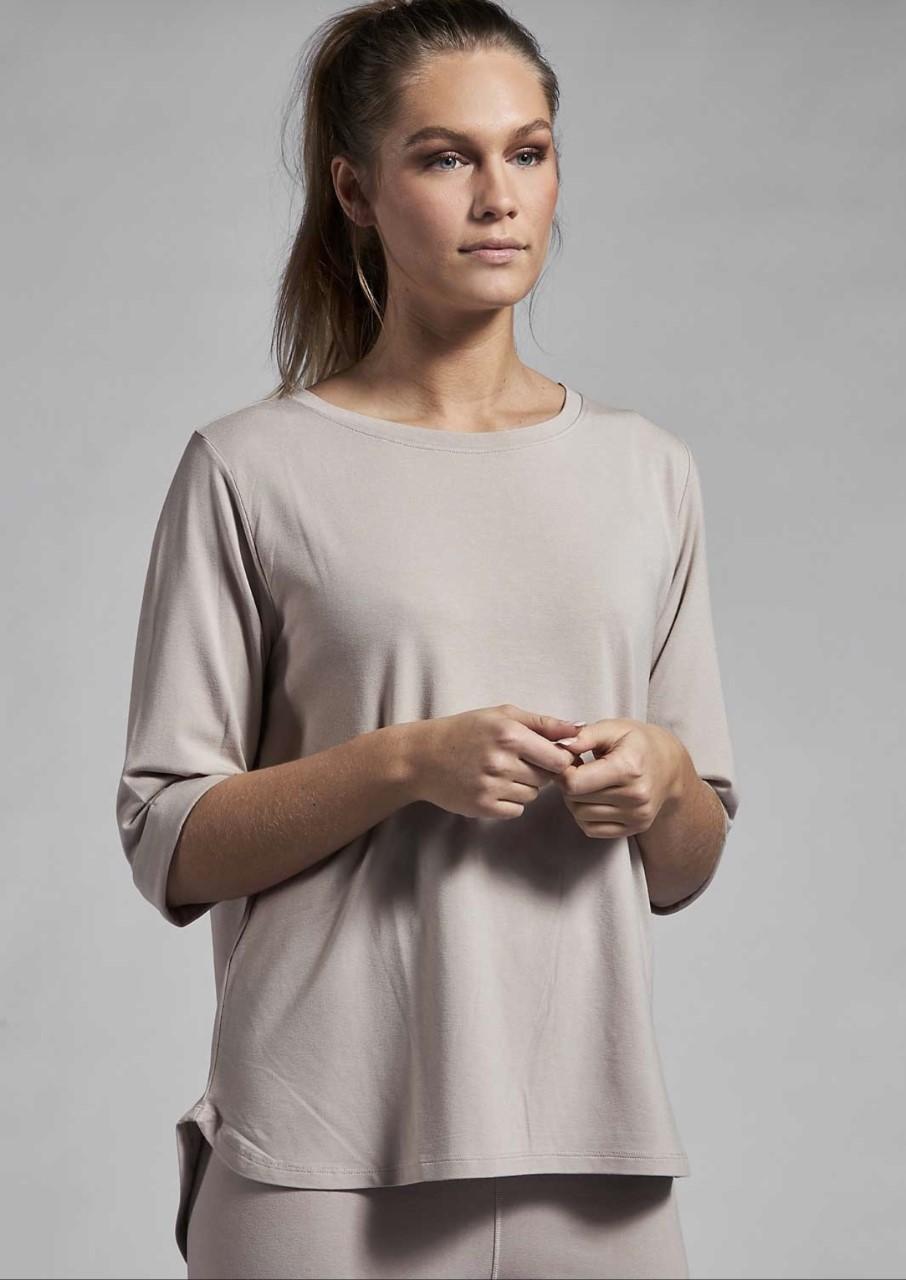 Ajlajk T Shirt topp, Overdel 3/4 arm - Beige