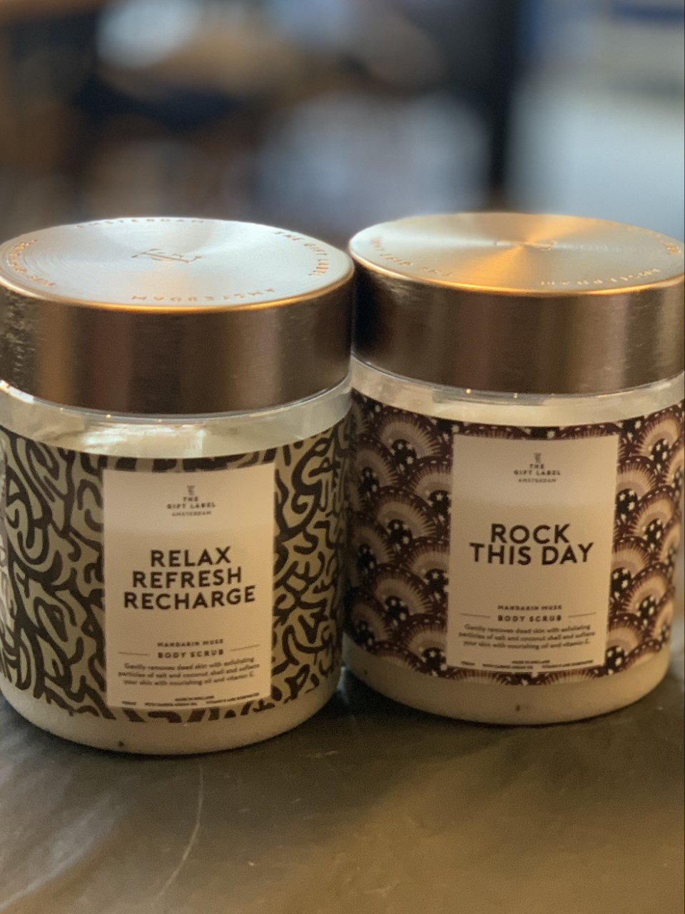 GiftLabel Body scrub Relax Refrech Recharge