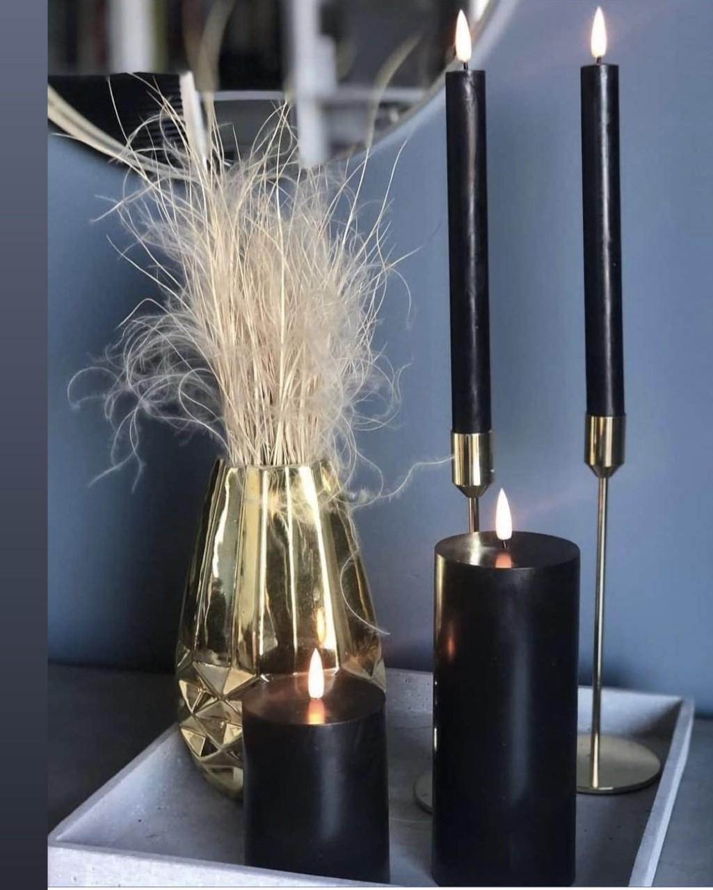 LED kubbelys Candel 16,5cm - Black