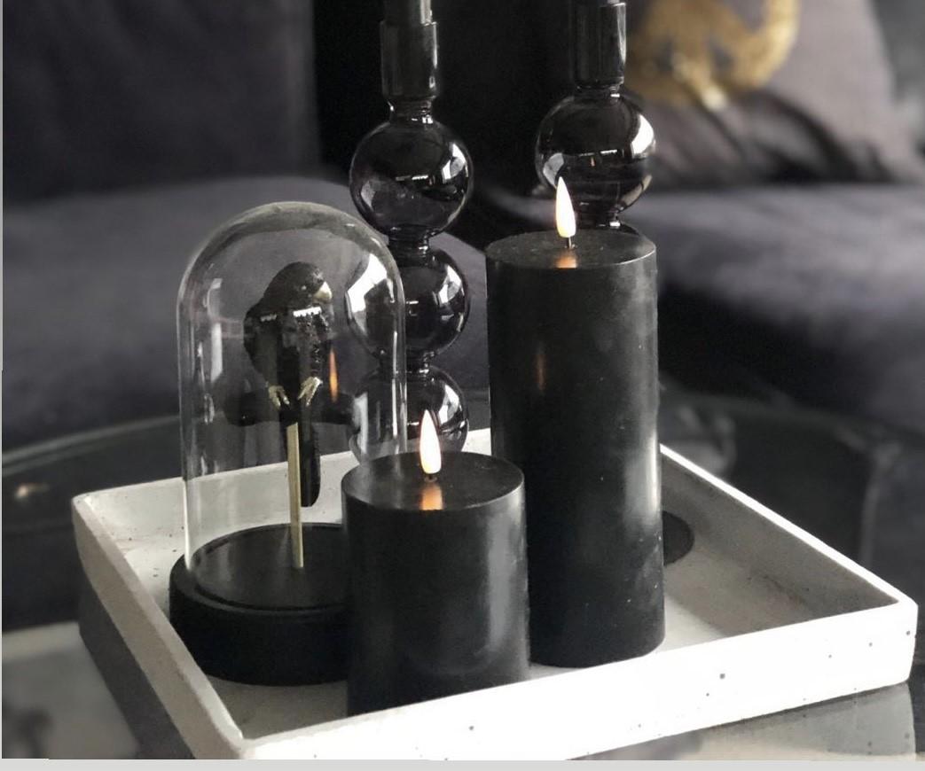LED kubbelys Candel 9cm -  Black