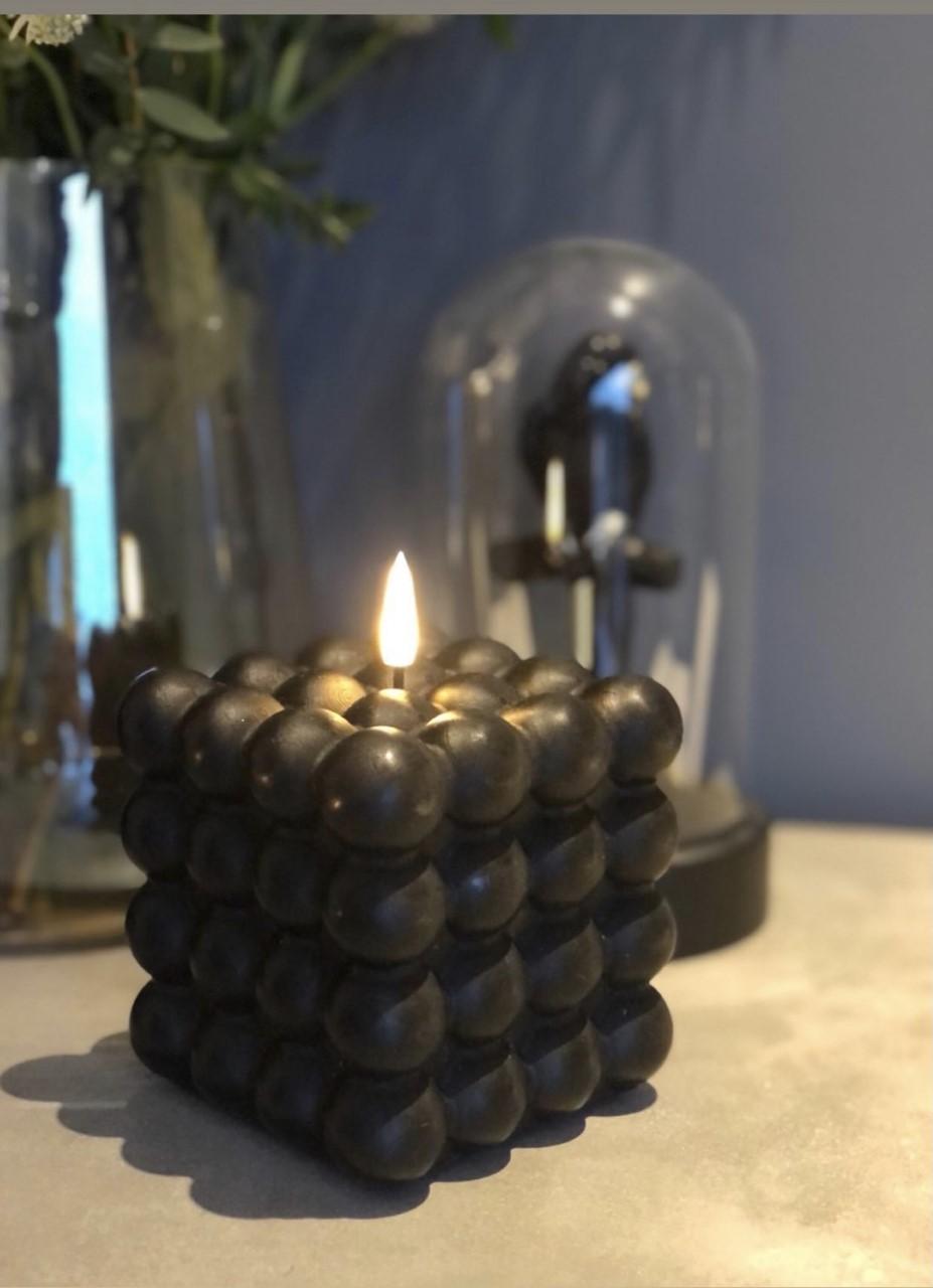 LED Kubbelys Candel boble 10cm - Black