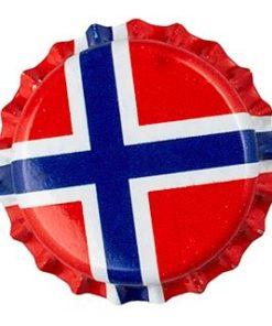 Kronkork Norsk flagg 26mm 100 stk
