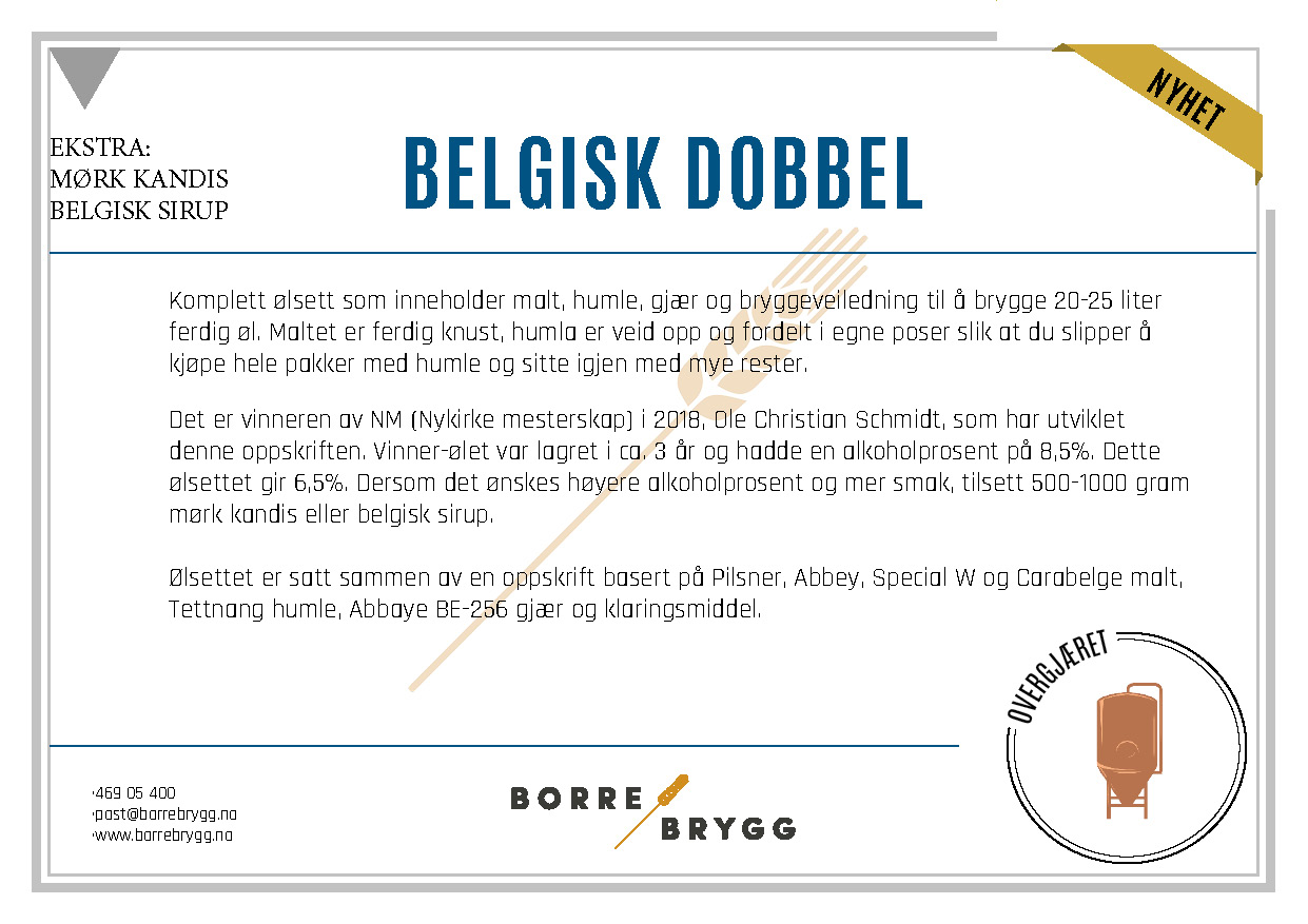 Ølsett 25l Belgisk Dubbel