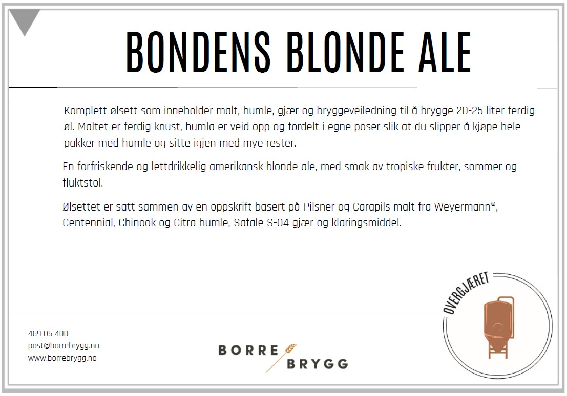 Ølsett 25l Bondens Blonde Ale