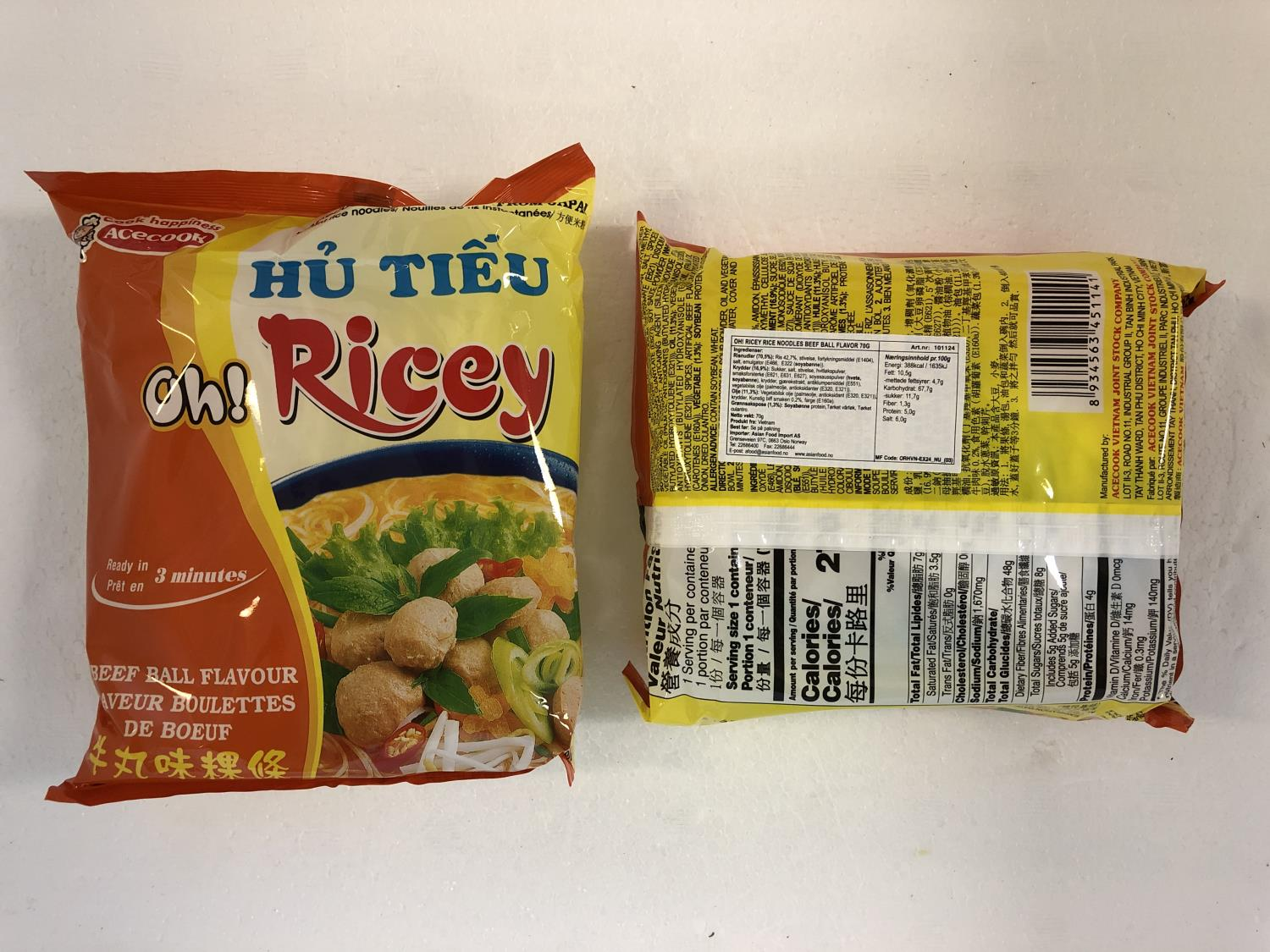 'ACECOOK Oh! Ricey Instant Noodles Beef Ball 70gr