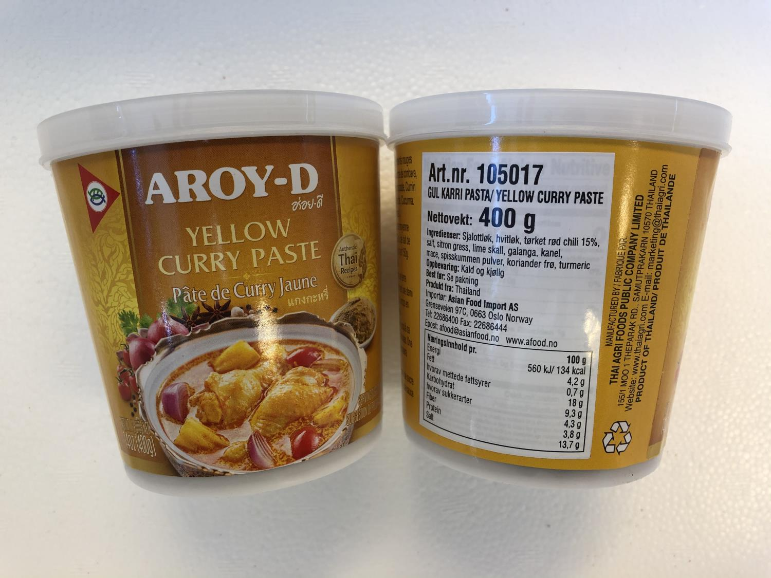 'AROY-D Yellow Curry Paste 400gr