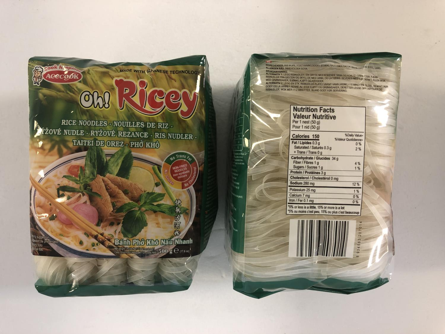'ACECOOK Oh! Ricey Rice Noodle 500gr å