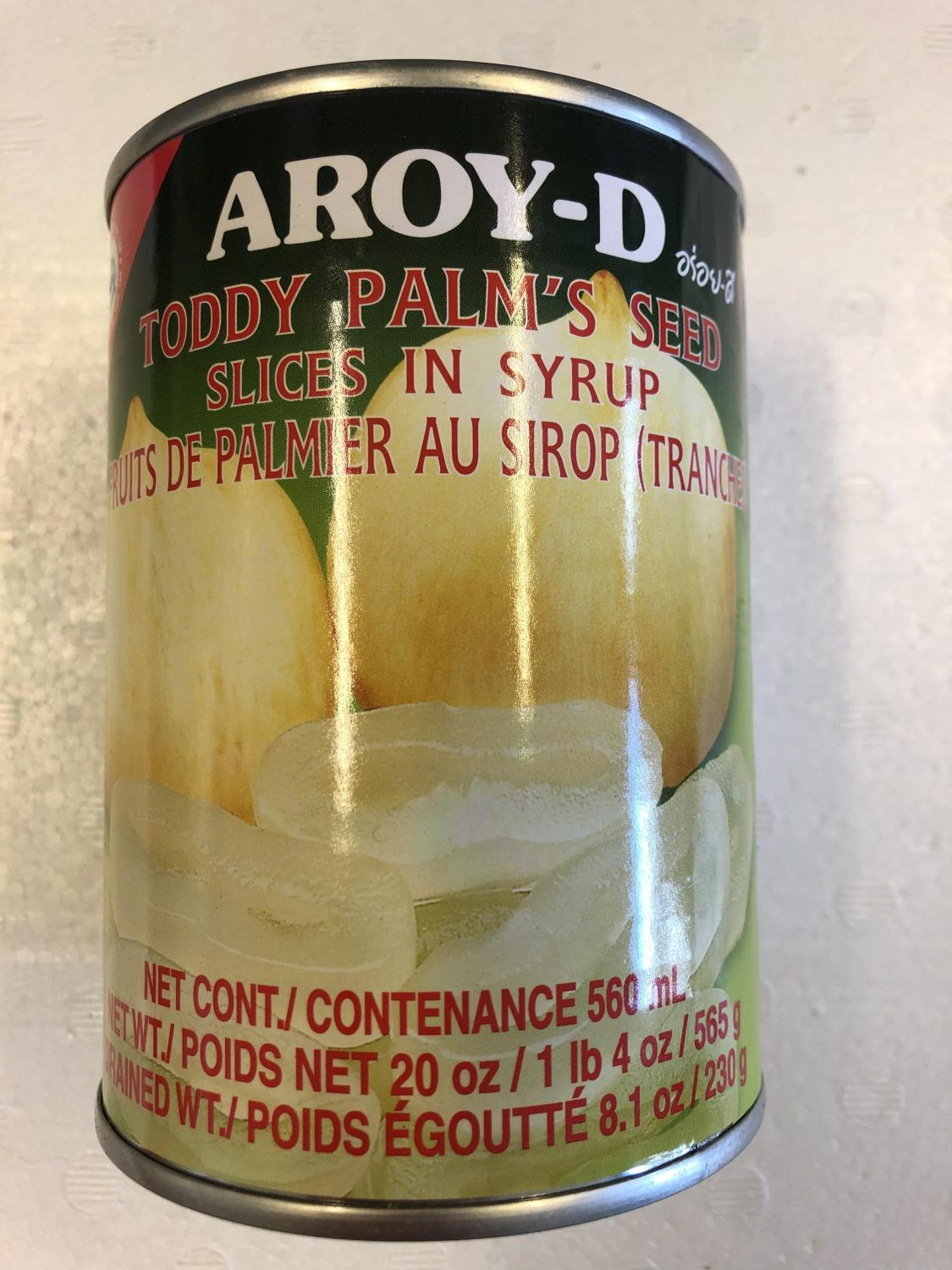 'AROY-D Toddy Palm Seed in Syrup Sliced 565gr