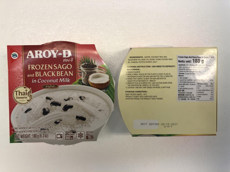 'AROY-D Frozen Sago and Black Bean in Coconut Milk 180g
