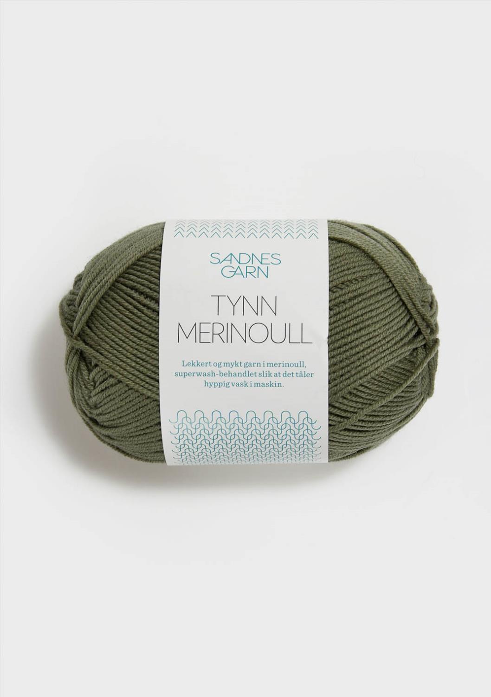 9551 Tynn Merinoull Støvet Mosegrønn