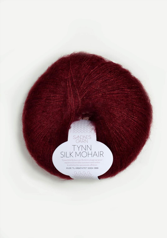 4054 Tynn Silk Mohair Dyp Vinrød
