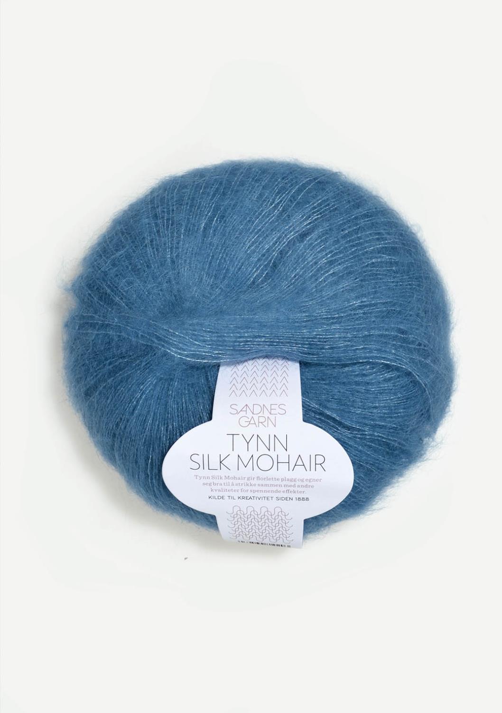 6042 Tynn Silk Mohair Mørk himmelblå