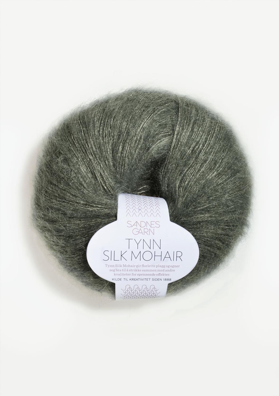 9071 Tynn Silk Mohair Støvet Olivengrønn