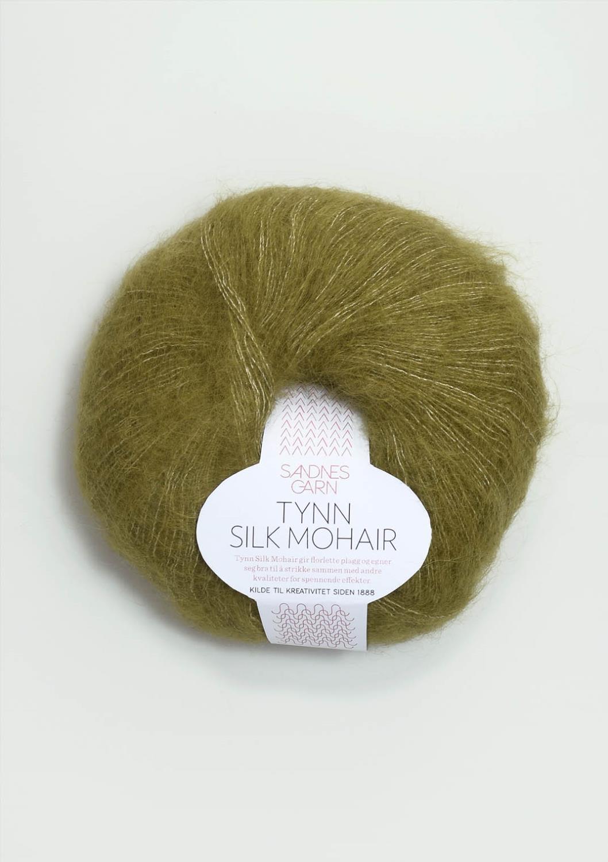 9850 Tynn Silk Mohair Olivengrønn Melert