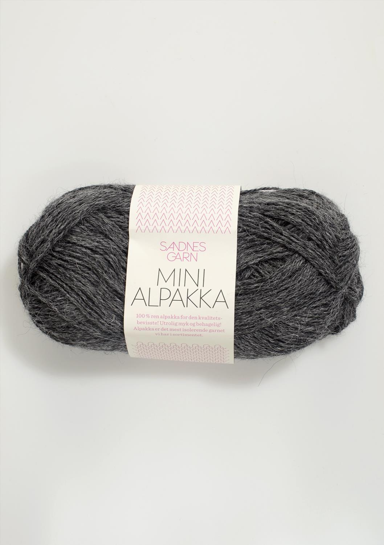 1053 Mini Alpakka Mørk Gråmelert