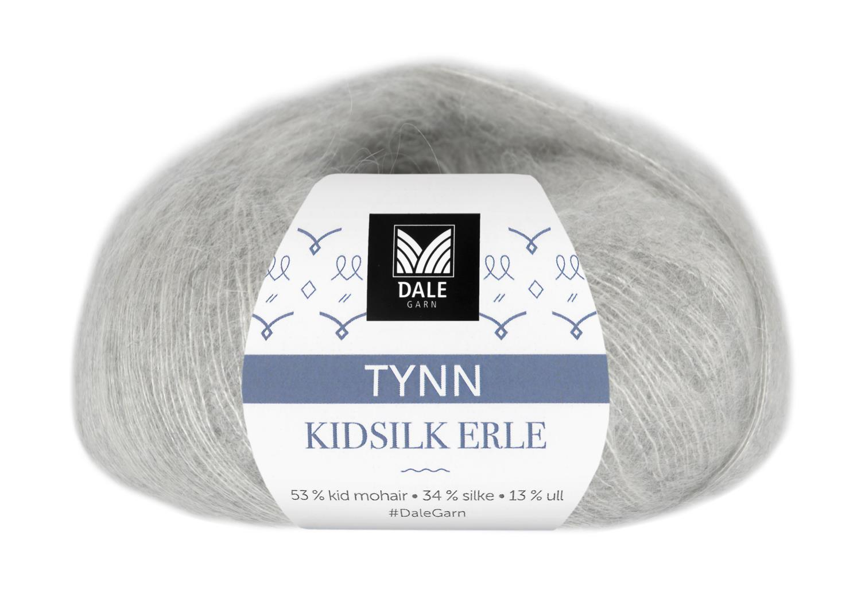 Tynn Kidsilk Erle - Lys grå melert