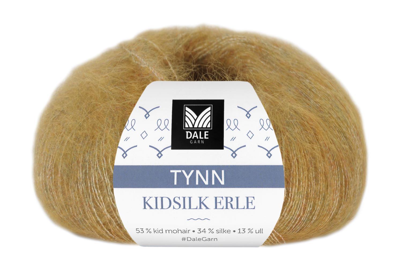 Tynn Kid Silk Erle - Gul melert