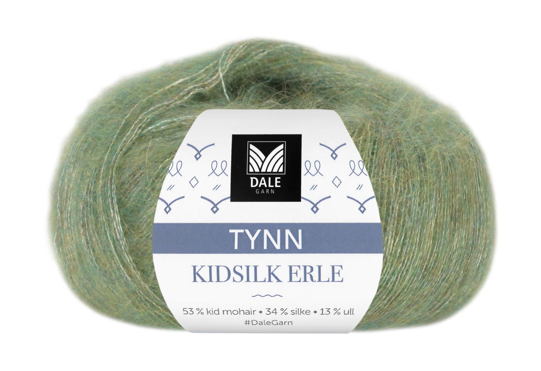Tynn Kidsilk Erle - Grønn melert