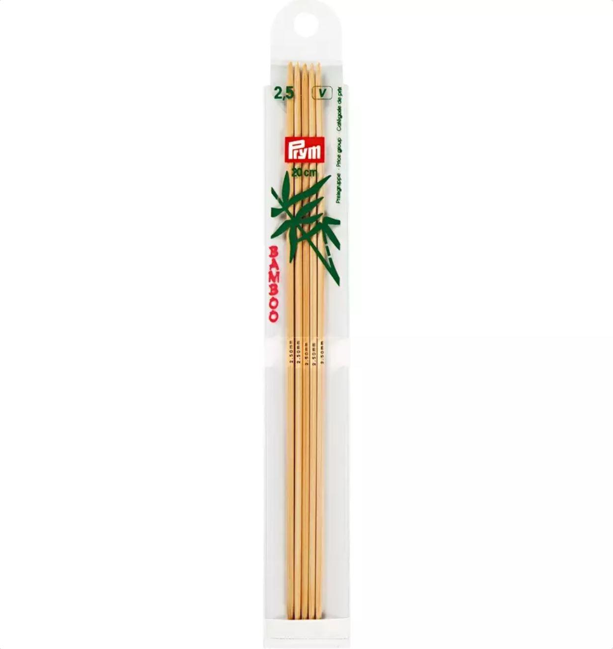 Prym Bamboo Settpinne 5stk - Bambus - 2,5 - 20cm