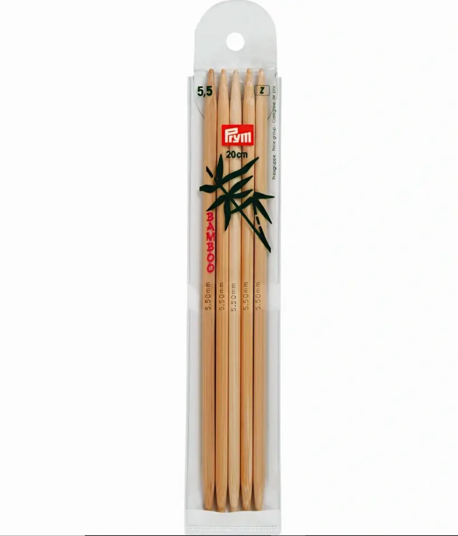 Prym Bamboo Settpinne 5stk - Bambus - 5,5 - 20cm